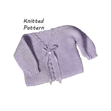 Infant Double Moss Stitch Sweater Knitting Pattern || Vintage 1960's || Reproduction PDF Instant Download 6030-60