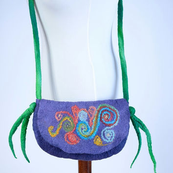 Small, purple felt purse with colorful, wool, embroidery style felted pattern - light fiber art shoulder bag with multicolor swirls [T27]
