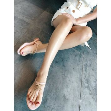 CHANEL 18 new Chanel sheepskin metal buckle sandals shoes