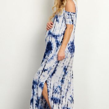 Blue Tie Dye Cold Shoulder Maternity Maxi Dress