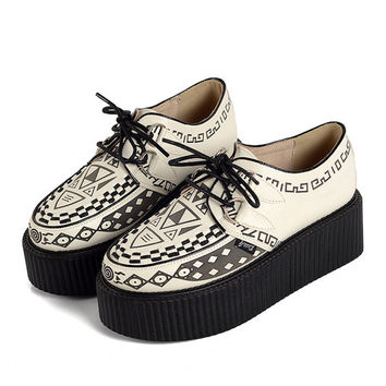 Handmade Women's Graffiti pattern Genuine Suede Fashion Sexy Lace UP Flat Platform Shoes Goth Creepers Punk Casual Warm Creeper Shoes White