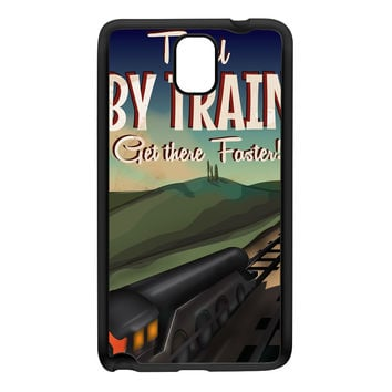 Travel by train Black Silicon Rubber Case for Galaxy Note 3 by Nick Greenaway