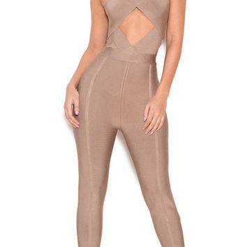 Taupe Bandage Crossover Front Jumpsuit