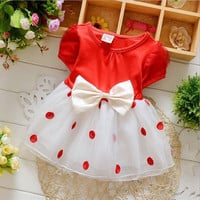 The new  Fashion Style Baby Kids Girls Children Dot Lace Cotton Bow Mini Dress Short Sleeve