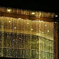 Outop 300led Window Curtain Icicle Lights String Fairy Light Wedding Party Home Garden Decorations 3m*3m (Warm White)