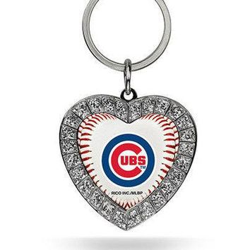 MLB Chicago Cubs Heart Keychain FREE SHIPPING!
