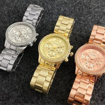Rhinestone chronograph watch (Rose Gold, Gold, Silver)