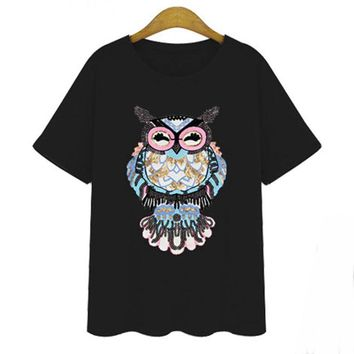 Summer 5XL 4XL 3XL Plus size Women Tops Casual Slim Short sleeve Embroidery Sequined Owel Cotton Big size Basic T-shirts