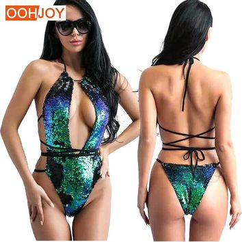 2018 Sequins Gradient Swimsuit Women One Piece Suit Backless Halter Monokini S-XL Strappy Bandage Swimwear Luxury Bathing Suit