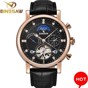 Men Automatic Mechanical Wrist Watch Luxury Brand Fashion Sports Leather Moon Phase Calendar Week Watches Relogio Masculino