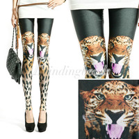 Women Punk Rock Leopard Tiger Head Animal Sexy Leggings Tights Slim Fit Pants