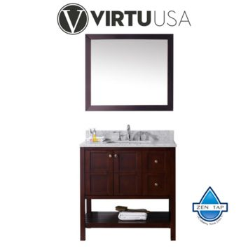 "Winterfell 36"" Single Bathroom Vanity in Espresso with Marble Top and Square Sink with Mirror"