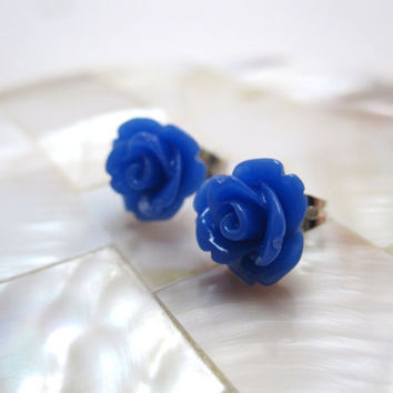 Blue rosette earrings blue roses on silver by LazyOwlBoutique