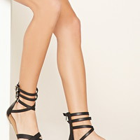 Caged Faux Leather Sandals