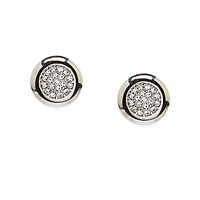 Swarovski Stone Pierced Stud Earrings - Silver/Crystal