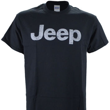 Jeep Distressed Logo on a Black T Shirt