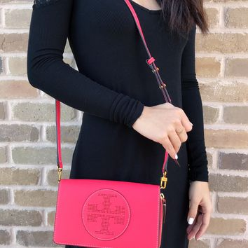 NWT Tory Burch Perforated Logo Flat Wallet Leather Crossbody Handbag Red Ginger