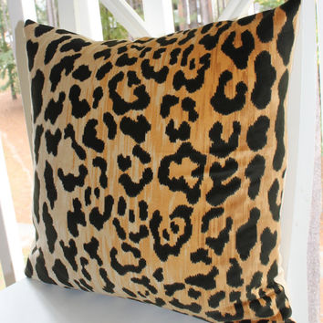Leopard Velvet Pillow - Leopard Print Pillow Cover - Animal Print Throw Pillow - Gold Pillow