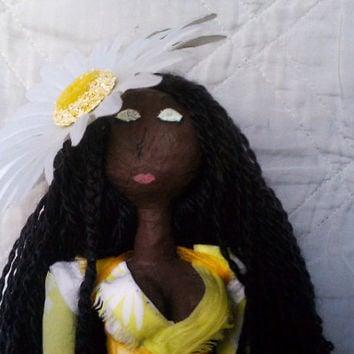 Daisy -  OOAK Mixed Media African American Art Doll Made from Recycled Material