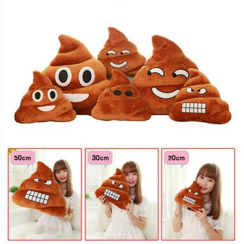 Funny Poo Shape Emoji Pillow Seat Chair Cushion Smiley Face Pillow Almofada Sofa Bed Home Decorative Pillow Cushions 2 Size