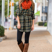Roll Up In Plaid Dress, Green/Navy