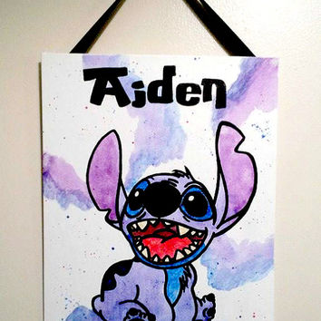 Personalized baby wall decor - Custom Stitch wall decor for child - Kids bedroom banner - Stich Wall decor painting