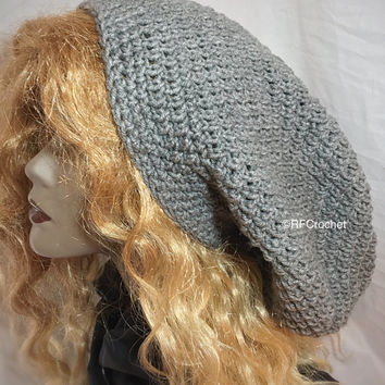 Slouch Beanie | Heather Gray | Dreadlock Hat | Classic Style | Large | Men | Women | Adult | Long Hair | Thick Hair | Locs | Medium Weight