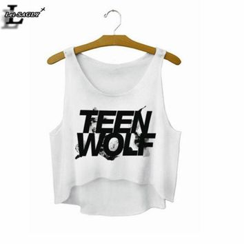 ONETOW Lei-SAGLY 'Teen Wolf' Letters Crop Top Summer Style Tank Top Women Tops Cheap Clothes China Cropped Fashion Mujer  Camisole F722