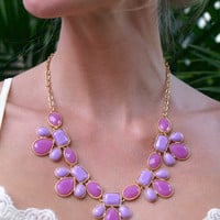 Dazzle Me Necklace & Earring Set: Purple