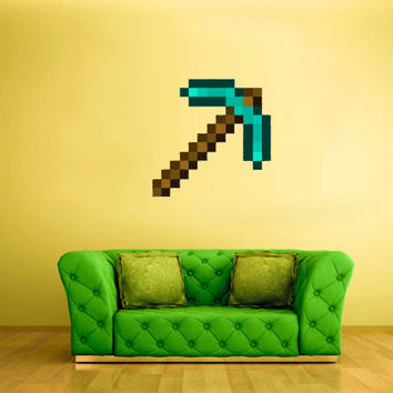 Full Color Wall Decal Vinyl Sticker Decor Art Bedroom Design Mural Like Paintings Minecraft Video Game Pickaxe (col428)