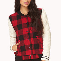 Remixed Plaid Varsity Jacket