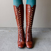 Vintage 1970's BOHO Leather Boots LACE UP Steam Punk (Size 7.5)