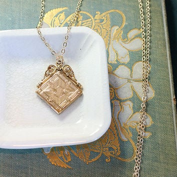 Antique Gold Filled Locket Necklace, W&H Co Diagonal Square Filigree Top Photo Pendant - Cherished