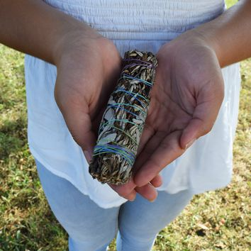 SACRED SAGE SMUDGE STICK - Ultimate Trio of White Sage, Yerba Santa & Blue Sage, Shaman Tool