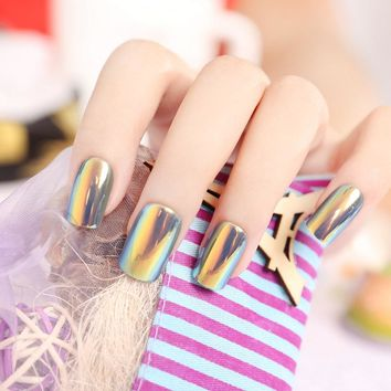 Fashion High Light Fake Nails Multiple Color Reflective Mirror Full Press on Nail Tips 6 Colors Choose faux ongles