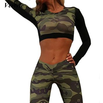 Vertvie Outdoor Running T-Shirts Women Camouflage Shirts Top Long Sleeve Workout Sport Shirts Camo Patchwork Fitness Crop Tops