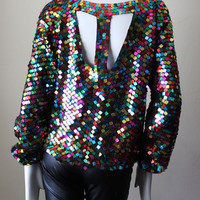 Sequin vintage top, disco, blouse, pure silk, rainbow, 1970s, square sequins, unique, unusual, halter back, long sleeve.