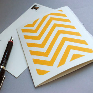 Yellow Chevron Linocut Notecard Block Print Card 5 by CursiveArts
