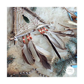 Triangle Bohemian Dreamcatcher, Feather Wall Hanging, Wood Dreamcatcher, Bedroom Apartment Decor, Urban, Boho Chic, Gypsy, Hippie, Indie