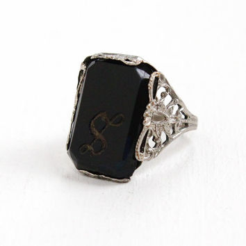 Antique Art Deco Silver Tone Simulated Onyx Monogrammed S Ring- Vintage Size 4 Filigree Costume Jewelry Hallmarked NEMCO