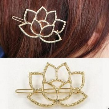 New Fashion Heart Like Lotus Flowers Qingwen Art Metal Lotus Modeling Retro Hairpin Hair Clip Bridal Hair Jewelry Hair Pins
