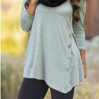 Plain Asymmetrical Long Sleeve Shirt