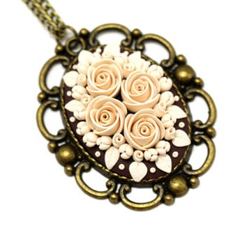 """Beige Floral Pendant Necklace """"Cream"""" Feminine Jewelry Floral Necklace Gift for Her Romantic Gift Beige Nude Neutral Colors One of a Kind"""