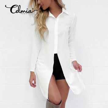 CELMIA Fashion Sexy Women Shirts 2017 New Style Long Sleeve Lapel Side Split Solid Blouse Ladies Casual Loose Long Tops Blusas