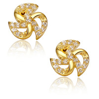 Gold Color Pinwheel W. Clear Round Cubic Zirconia Stud Earrings