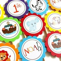 Noah's Ark Cupcake Toppers for Birthday or Baby Shower Party