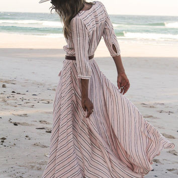 White V Neck Striped Split Maxi Dress