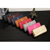 """Coach"" Women Fashion Embossed Long Section Three Fold Multi-card Bit Purse Button Flip Wallet Handbag"