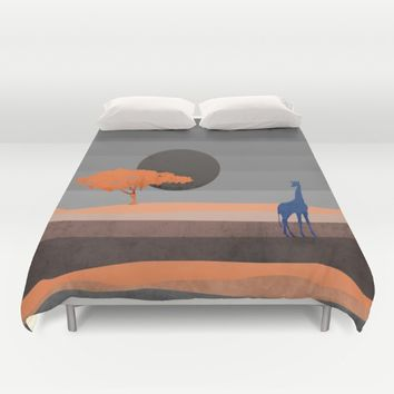 Giraffe , you are not alone Duvet Cover by Xiari