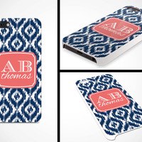 iPhone 5 Cell Phone Case Custom Color Ikat Damask Initials Monogram Apple Sorority Personalized Protective White Plastic Hard Cover VM-1062